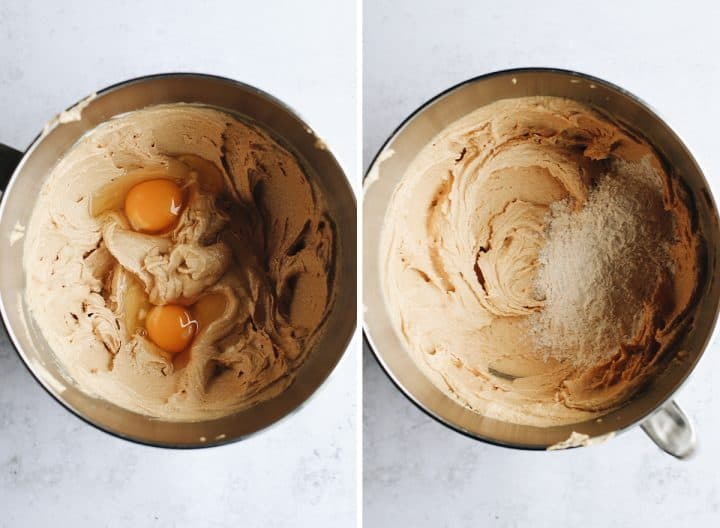 two overhead photos showing How to Make Monster Cookies - adding eggs & dry ingredients