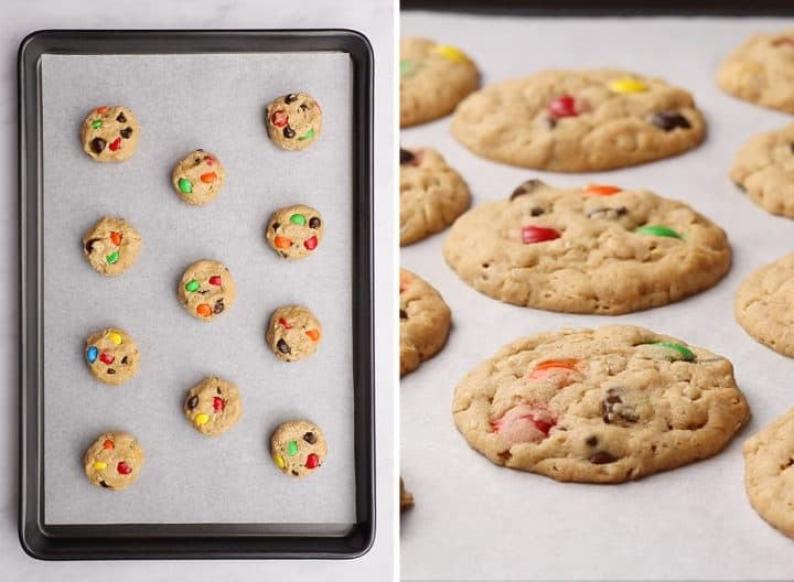 two photos showing How to Make Monster Cookies - unbaked and then baked on a cookie sheet