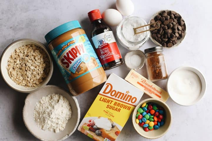 overhead photo of the ingredients in this Monster Cookies recipe