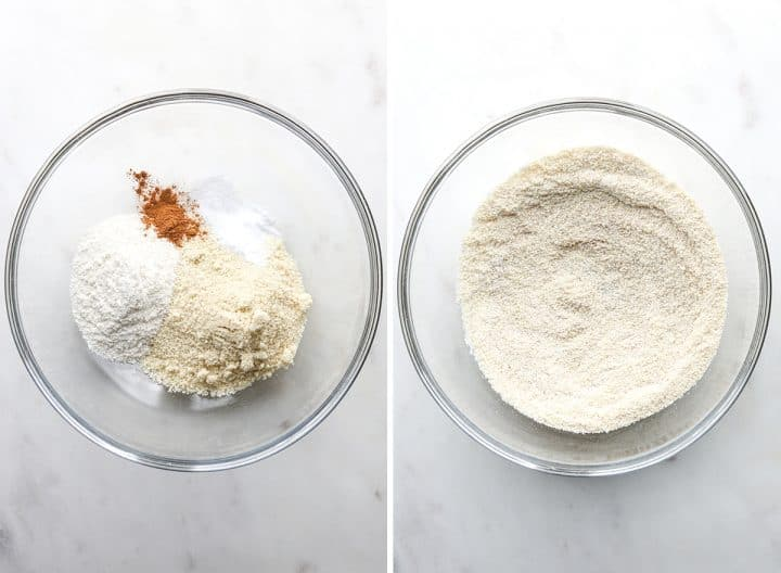 two photos showing how to make Paleo Chocolate Chip Cookies, mixing the dry ingredients