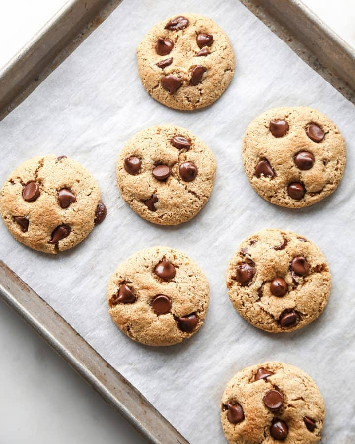 7 Paleo Chocolate Chip Cookies on a baking sheet lined with parchment paper