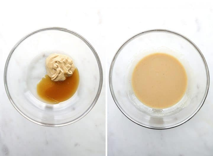 two photos showing how to make Paleo Chocolate Chip Cookies mixing cashew butter and honey