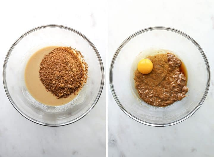 two photos showing how to make Paleo Chocolate Chip Cookies, adding coconut sugar, egg, and vanilla