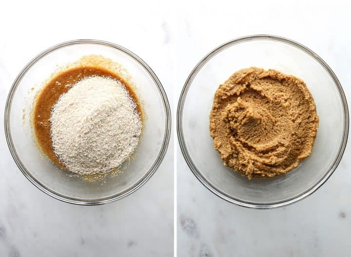 two photos showing how to make Paleo Chocolate Chip Cookies, adding dry ingredients