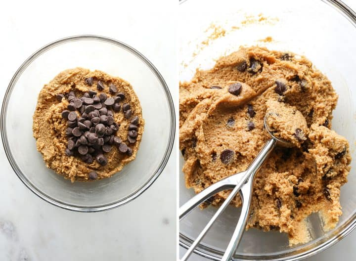 two photos showing how to make Paleo Chocolate Chip Cookies, adding chocolate chips & measuring with a cookie scoop