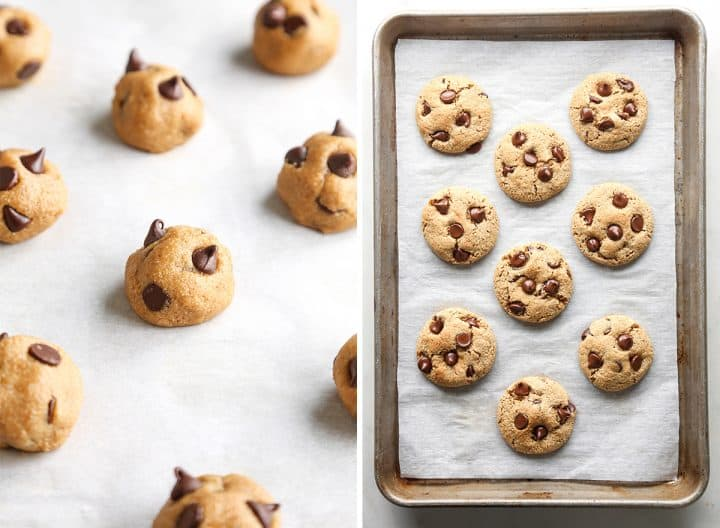 two photos showing how to make Paleo Chocolate Chip Cookies, dough on a baking sheet before and after baking