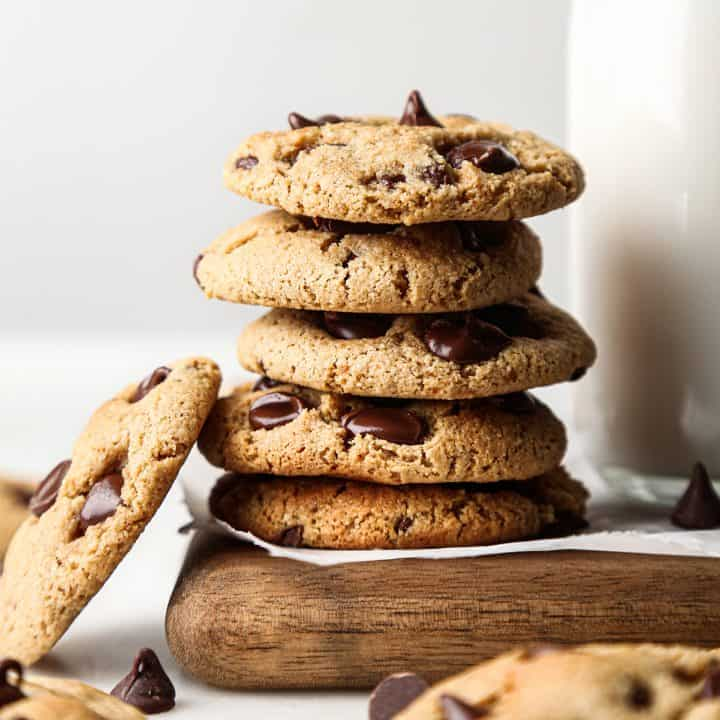 front view of a stack of 5 Paleo Chocolate Chip Cookies with one leaning against it