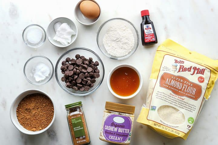 ingredients in this Paleo Chocolate Chip Cookie recipe
