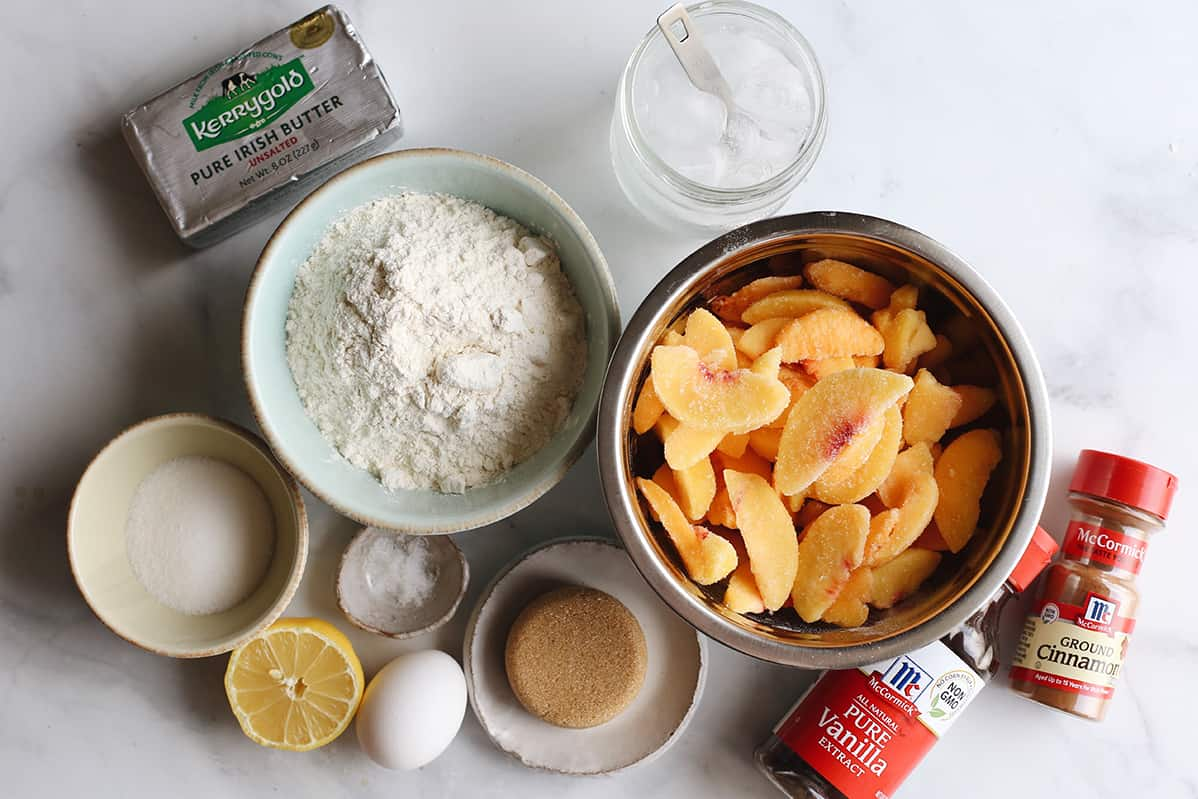 photo of the ingredients in this Peach Pie Recipe
