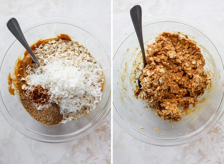 two photos showing how to make peanut butter protein balls - adding dry ingredients and stirring