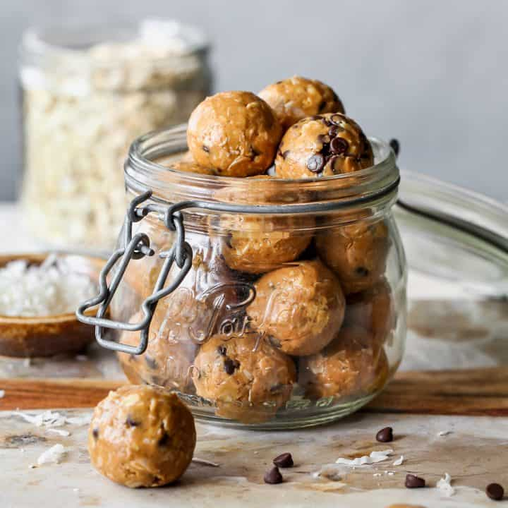 front view of a glass jar of Peanut Butter Protein Balls (Energy Balls)