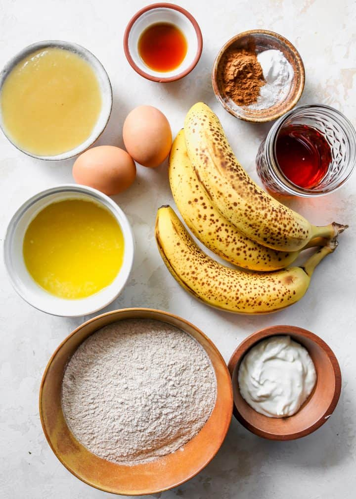 overhead view of the ingredients in this Healthy Banana Muffin recipe