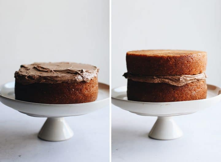 two photos showing how to frost a yellow cake