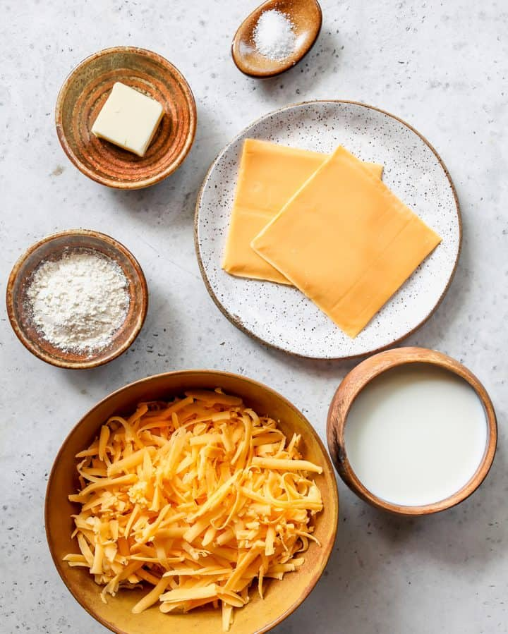 overhead view of the ingredients in this Cheese Sauce recipe