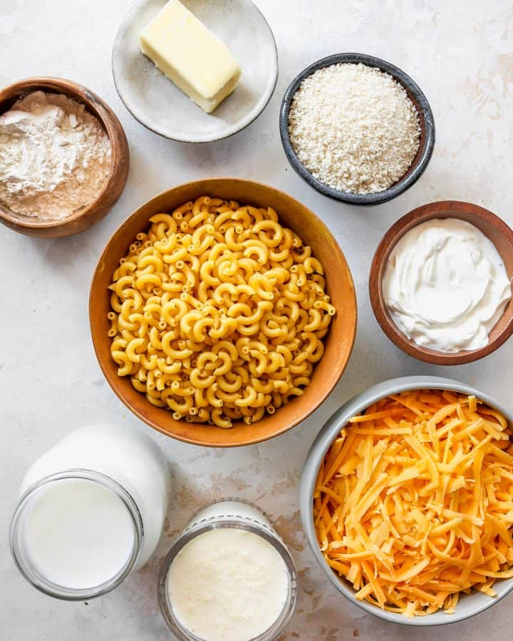 overhead view of the ingredients in this Baked Mac and Cheese recipe