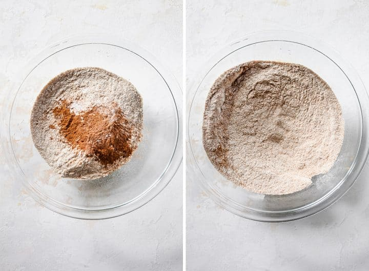 two photos showing how to make Healthy Banana Muffins - mixing dry ingredients