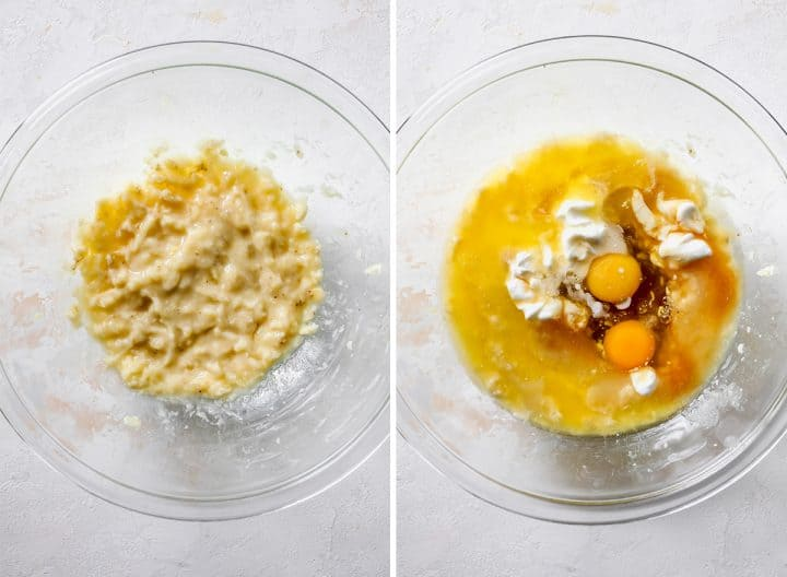 two photos showing how to make Healthy Banana Muffins - combining wet ingredients