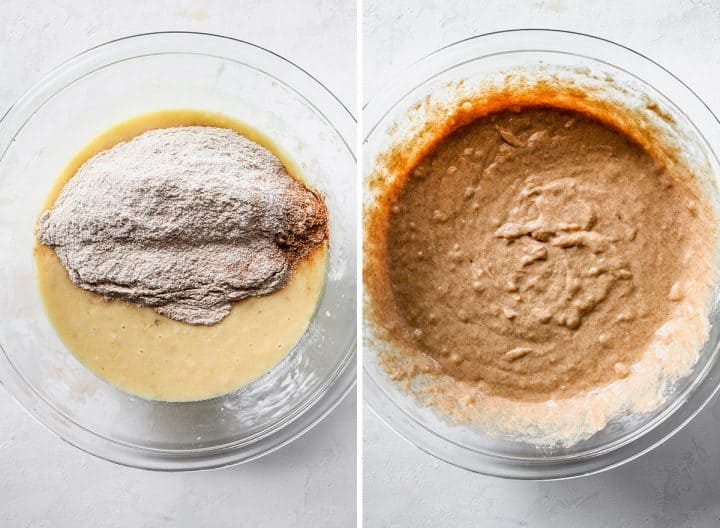 two photos showing how to make Healthy Banana Muffins - adding dry ingredients to the wet and stirring until smooth