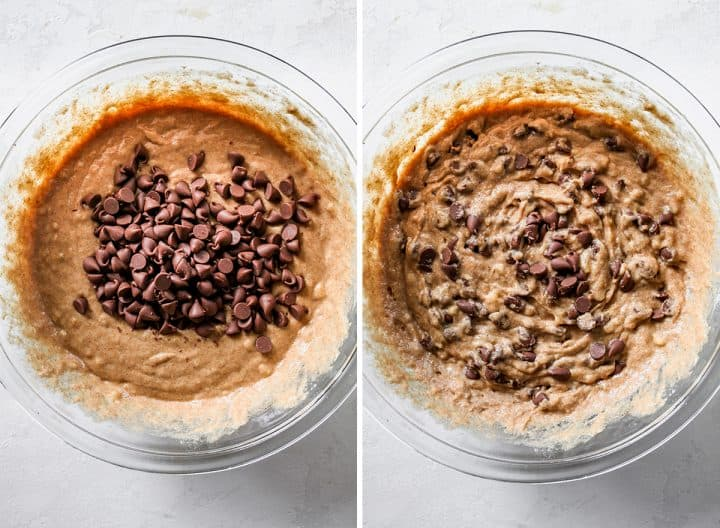 two photos showing how to make Healthy Banana Muffins - adding chocolate chips to the batter