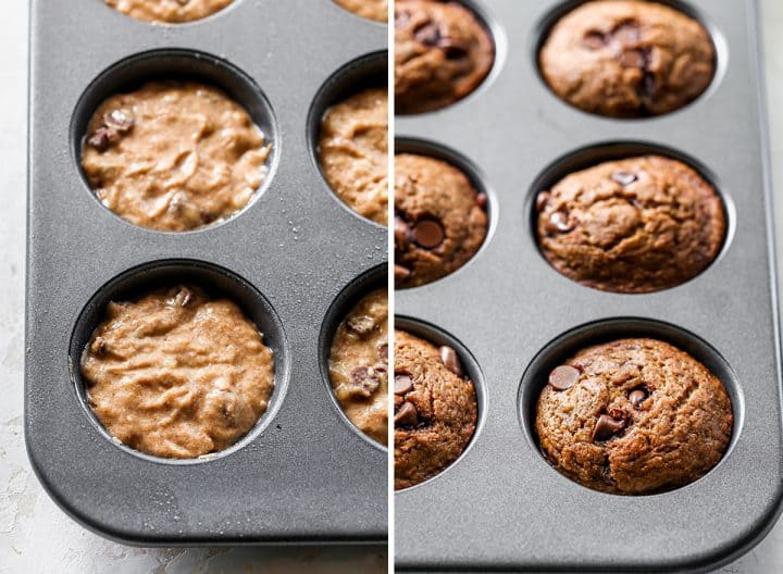 two photos showing how to make Healthy Banana Muffins - left photo shows batter in the muffin tin before baking, right photo shows muffins in the tin after baking