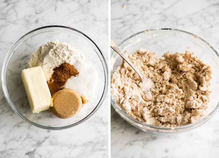 two photos showing how to make apple crisp - making the crisp topping