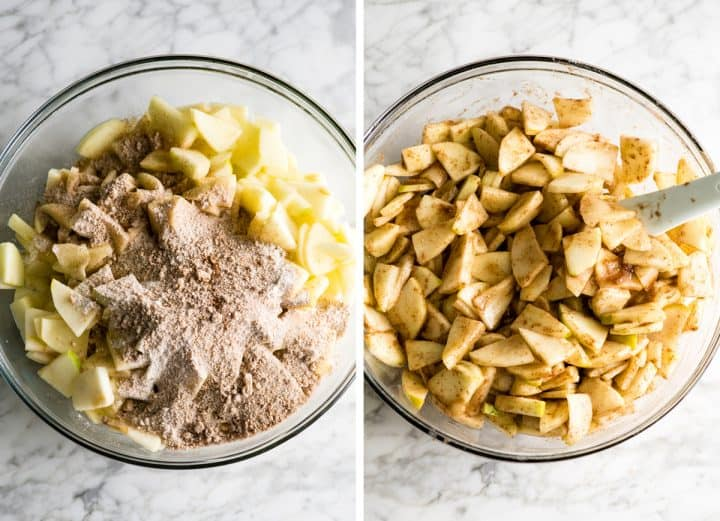 two photos showing how to make apple crisp - making the filling