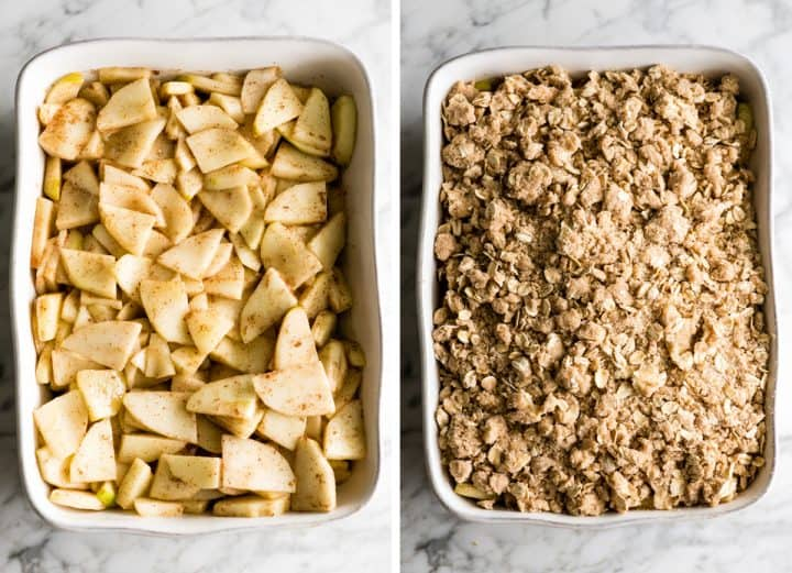two photos showing how to make apple crisp - in the baking dish with and without the topping before baking