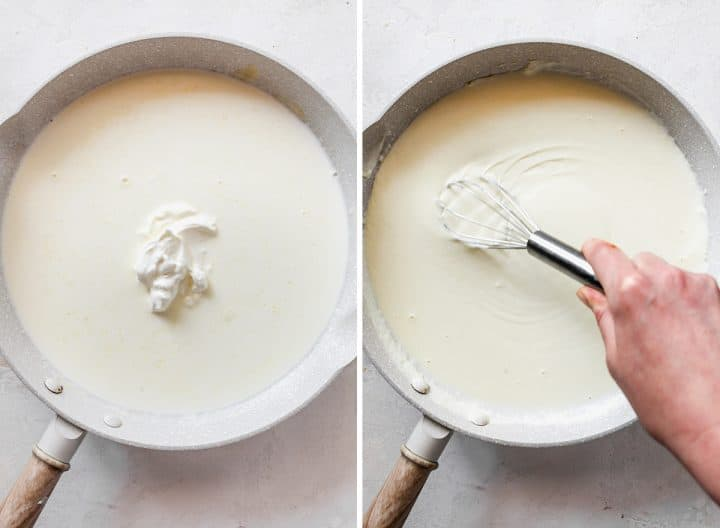 two overhead photos showing How to Make Baked Mac and Cheese - making the cheese sauce