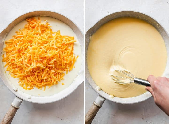 two overhead photos showing How to Make Baked Mac and Cheese - finishing the cheese sauce