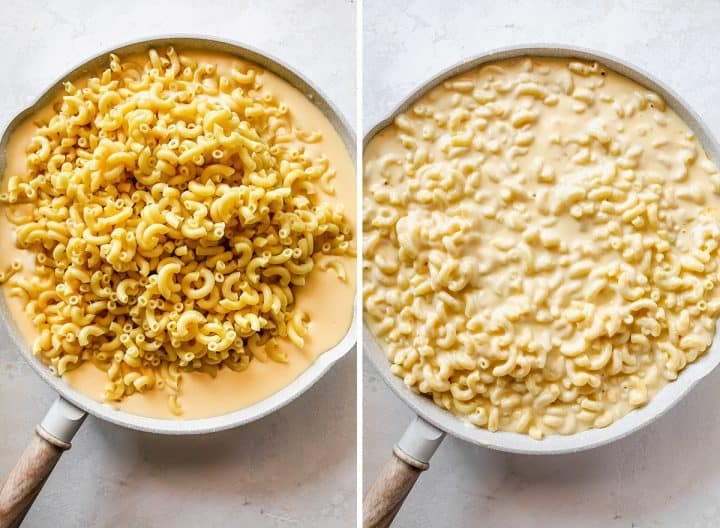 two overhead photos showing How to Make Baked Mac and Cheese - adding the cooked macaroni to the cheese sauce