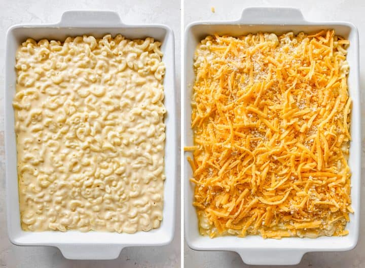 two overhead photos showing How to Make Baked Mac and Cheese - in the baking dish before and after baking