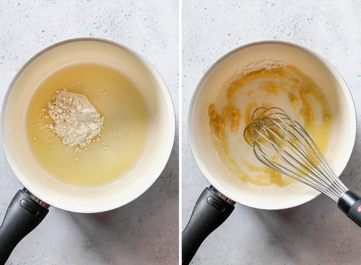 two photos showing how to make cheese sauce - making the roux