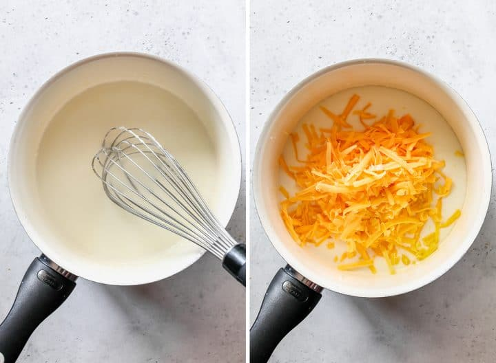 two photos showing how to make cheese sauce - adding milk and cheese