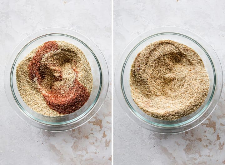 two photos showing How to Make Chicken Nuggets - making the breadcrumb coating