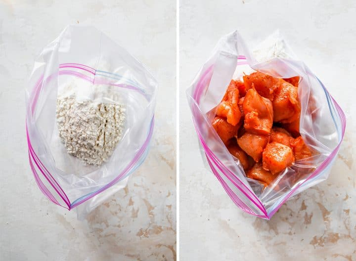 two photos showing How to Make Chicken Nuggets - coating the chicken with flour