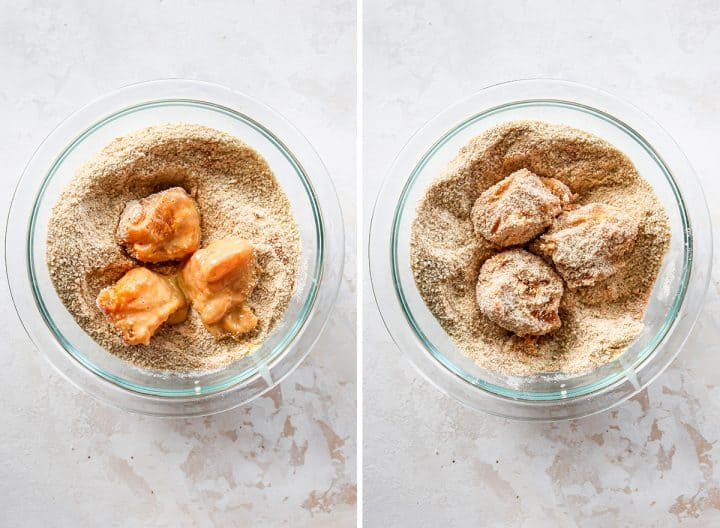 two photos showing How to Make Chicken Nuggets - coating chicken with breadcrumb coating