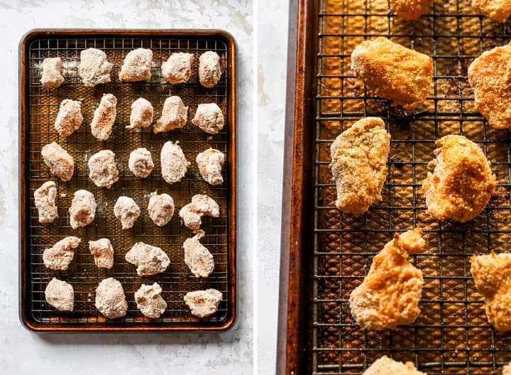 two photos showing How to Make Chicken Nuggets - before and after baking on a baking sheet lined with a wire metal rack