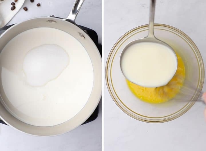two photos showing How to Make Coffee Ice Cream - making the custard by warming milk and egg miture