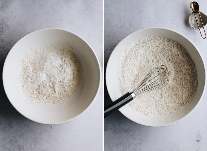 two photos showing How to Make Yellow Cake From Scratch - mixing the dry ingredients