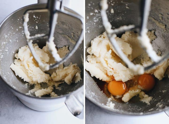 two photos showing How to Make Yellow Cake From Scratch, creaming butter & sugar and adding eggs & vanilla