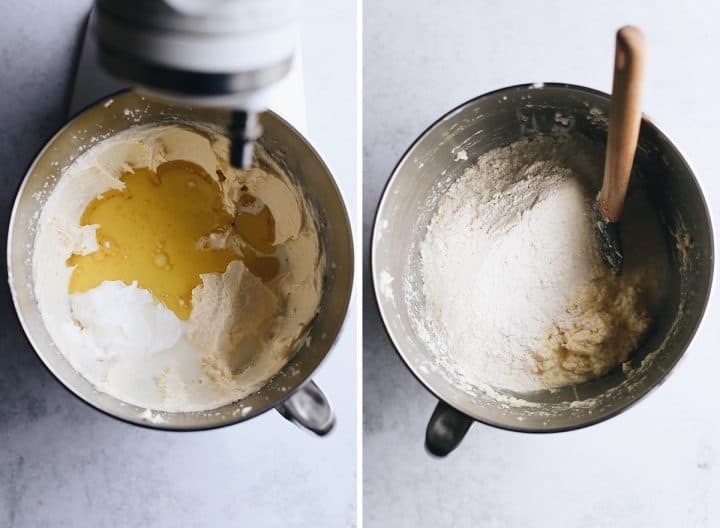 two photos showing How to Make Yellow Cake From Scratch, adding wet ingredients & dry mixture