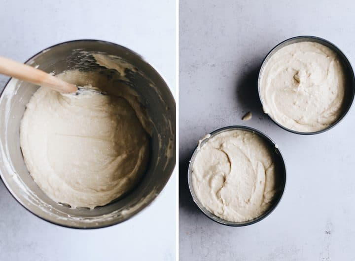 two photos showing How to Make Yellow Cake From Scratch, putting the batter into the cake pans