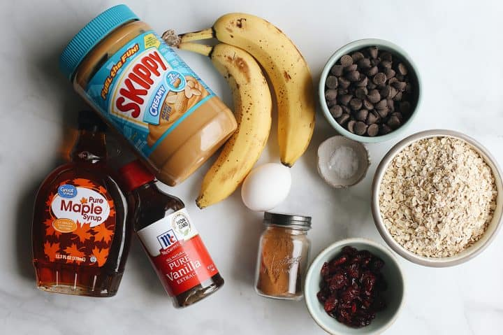 overhead photo of the ingredients in this Peanut Butter Banana Cookies recipe