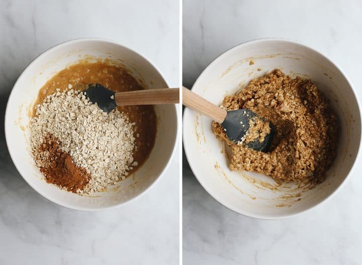 two photos showing how to make Peanut Butter Banana Cookies, adding dry ingredients