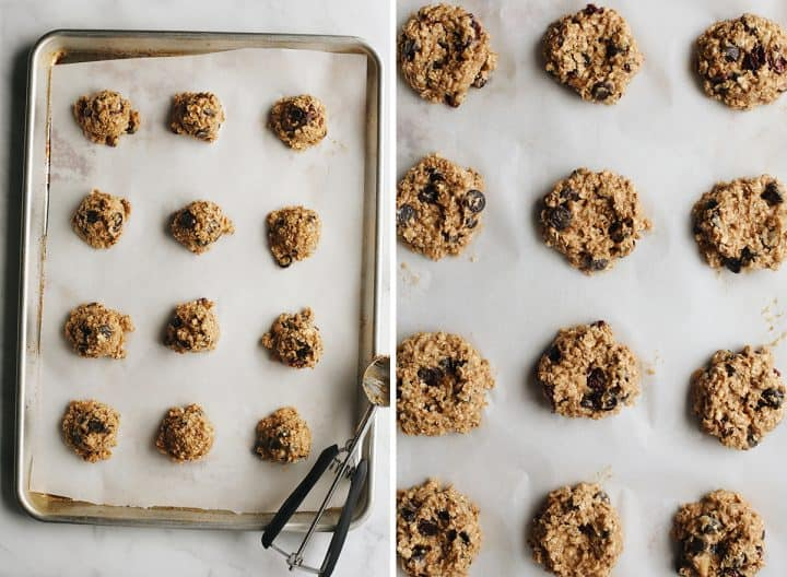 two photos showing how to make Peanut Butter Banana Cookies, baking on a baking sheet
