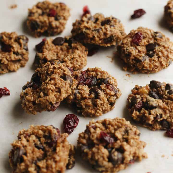 10 Peanut Butter Banana Cookies with chocolate chips and dried cranberries