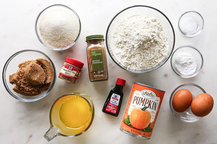 overhead photo of the ingredients in this Pumpkin Muffin recipe