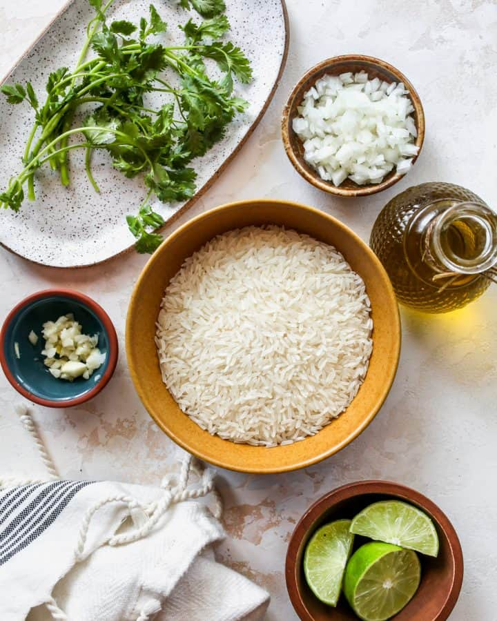 overhead view of the ingredients in this Cilantro Lime Rice recipe