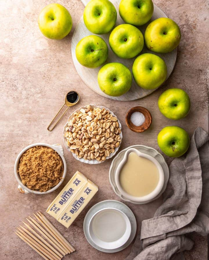 overhead view of the ingredients in this Homemade Caramel Apples recipe