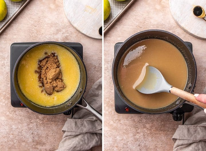 two overhead photos showing How to Make Caramel Apples - adding brown sugar & stirring